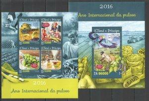 ST1564 2016 S. TOME & PRINCIPE AGRICULTURE PLANTS FOOD 1KB+1BL MNH