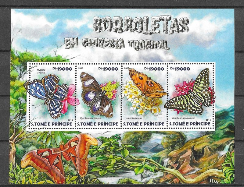 St. Thomas & Prince Islands MNH S/S Butterflies 2015 4 Stamps
