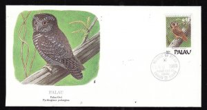 Flora & Fauna of the World #212b-Palau-Birds-Palau Owl-FDC with  single stamp an