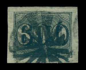 BRAZIL 1850  Numerals  600reis black  Scott # 28 used  XF stamp