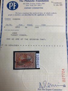 Canada#4 3p Used On Medium Wove Paper A Gem 4 Large Margins  1999 PF Certificate