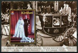 Kiribati 2007 MNH Diamond Wedding Queen Elizabeth II Prince Philip 1v M/S Stamps