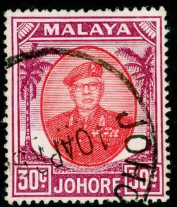 MALAYSIA - Johore SG142a, 30c scarlet & purple, FINE USED, CDS.