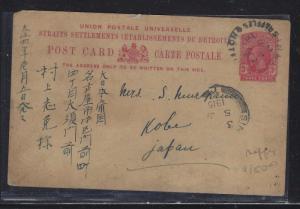 MALAYA STRAITS SETTLEMENTS (P1709B) 1915 KGV 3C PSC RAFFLES HOTEL TO JAPAN WITH
