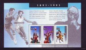 Canada Sc 1344 1991 Basket Ball 100 Years stamp sheet mint NH