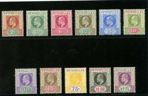 Seychelles 1903 KEVII set complete MLH. SG 46-56. Sc 38-48.