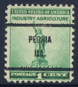 Peoria IL, 899-61 Bureau Precancel, 1¢ National Defense