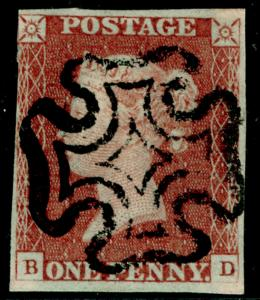 SG8, 1d red-brown PLATE 27, USED. Cat £60. BLACK MX. BD
