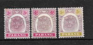 PAHANG  1895    TIGER SET 3     MH   SG 14/16