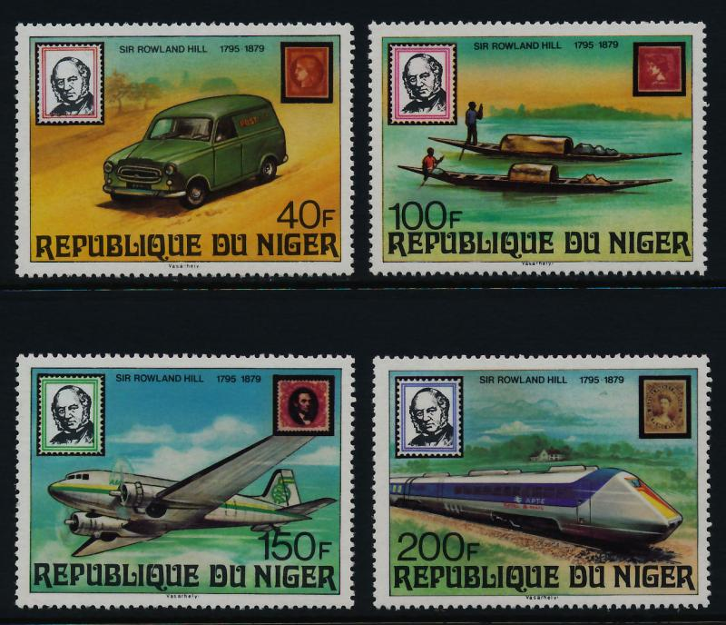 Niger 474-8 MNH Stamp on Stamp, Trains, Aircraft, Car, Boat, Rowland Hill