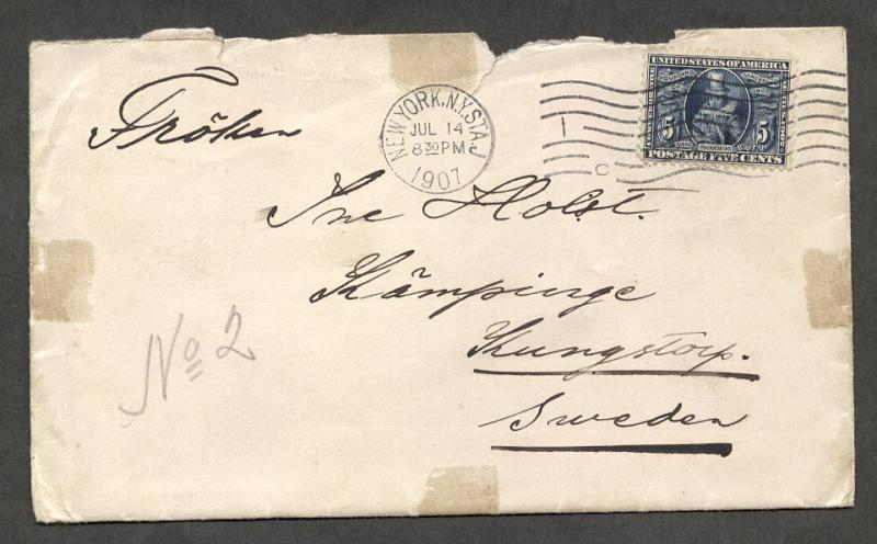 US#330 Blue - On Cover to Sweden