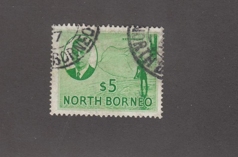 NORTH BORNEO # 257 VF-LIGHT CORNER CANCELS KGV1 $10 CAT VALUE $28+