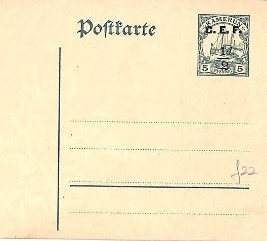 GG104 Germany Cols Cameroon BRITISH OCCUPATION WW1 Postal Stationery *CEF* Card