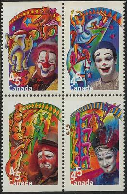 Canada - 1998 Circus Issue Set of 4 mint in blk #1760ai ex Booklet VF-NH
