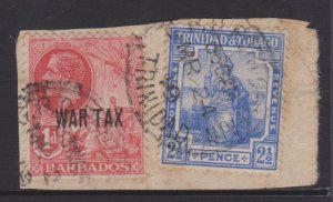 Barbados Sc#MR1 and Trinidad and Tobago Sc#107 Used in Trinidad on Piece