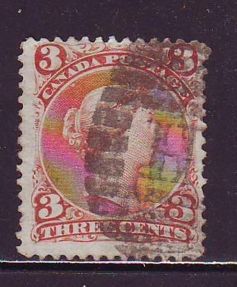 Canada Sc 25 1868 3 c red large Queen Victoria stamp used