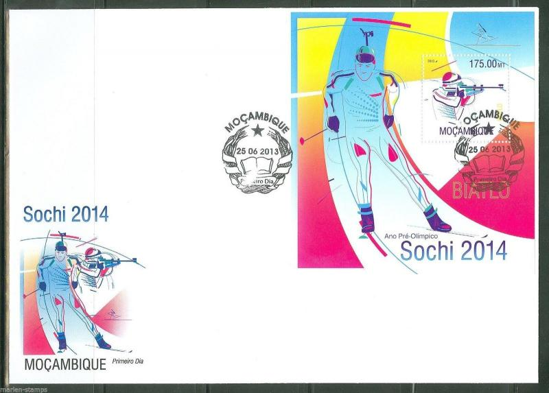 MOZAMBIQUE 2013 SOCHI 2014 PRE OLYMPIC ISSUE SOUVENIR SHEET FIRST DAY COVER