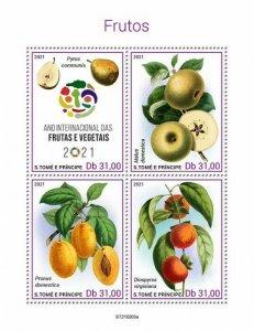 Sao Tome & Principe 2021 MNH Fruits Stamps Intl Year of Fruit & Vegetables 4v MS