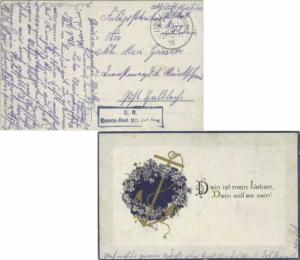 Germany Soldier's Free Mail 1918 Lindau i. Bodensee PPC (anchor and heart wit...