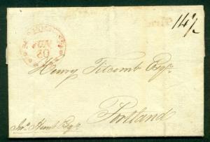 DANISH WEST INDIES 1809 SFL ST CROIX to PORTLAND MAINE red SHIP & Boston transit
