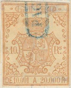 ESPAGNE / SPAIN / ESPAÑA 1861 Sello Fiscal (GIRO) 10 reales - (repaired)