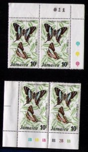 Jamaica Sc #398 Used MNH 2 EA  Vert. Pairs Butterflies VF