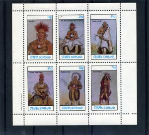 STAFFA 1982 (Scotland) American Indians Sheet 6 values Perforated mnh.vf