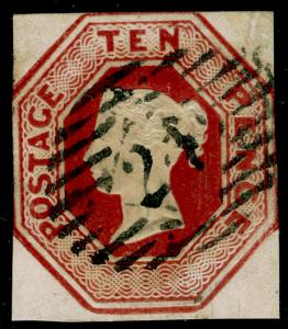 SG57, 10d brown, CUT SQUARE, USED. Cat £1500.
