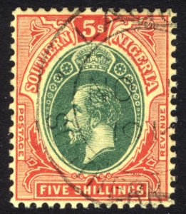 Southern Nigeria 1912 5s Green & Red on yellow Scott 54 SG 54 VFU Cat $87