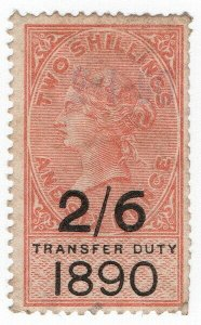 (I.B) QV Revenue : Transfer Duty 2/6d (1890)
