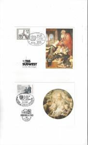 UN Stamp Show Cards. UNICEF JUBRIA 85 & SUDWEST 85   2 Dif.