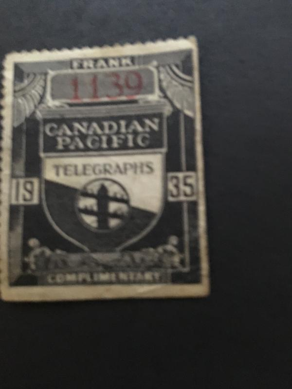 Canada Van Dam TCP48 Cat. $75. 1935 Canadian Pacific Telegraph Frank.Minor flaws