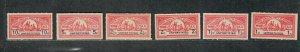 North Carolina State Revenue Stamp Sc#w1-w6 M/H/VF, Wine, Blue Numerals