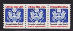 US Sc O139 MNH. 1985 Domestic Letter Rate D, Plate 1 strip of 3, VF