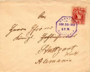 Guatemala 10c Quetzal 1899 Correos, Guatemala to Stuttgart, Germany.  EUROPEA...