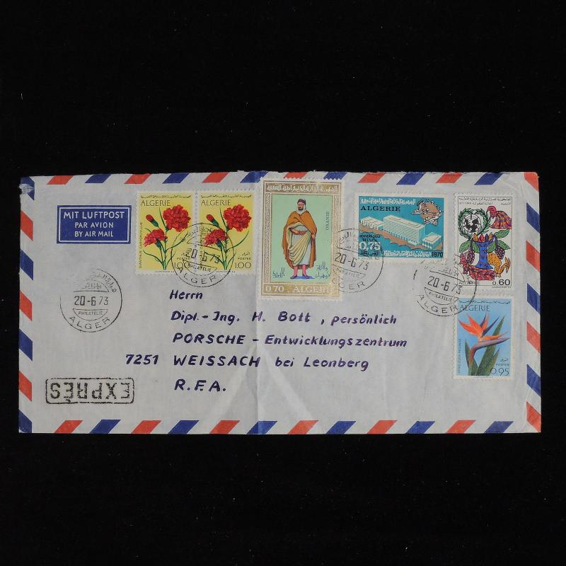 ZS-AC558 ALGERIA IND - Airmail, 1973 Airmail Express To Weissach Germany Cover
