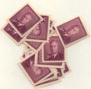 Canada - 1949 3c KGVI Coil X 25 mint #296