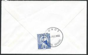 GB LUNDY 1982 cover to Exeter, 15p Puffin..................................10664