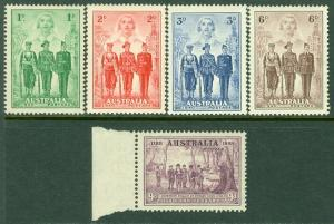 EDW1949SELL : AUSTRALIA Scott #165, 184-87 Very Fine, Mint NH. Catalog $83.50.