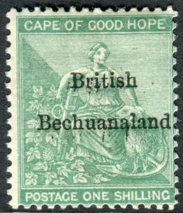 BECHUANALAND-185-7 1/- Green.  A lightly mounted mint example Sg 8