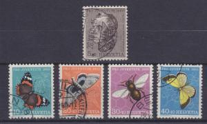 Switzerland Sc B196-B200 used 1950 Semi-Postals complete VF