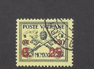 Vatican, 14, Surcharged in Red Single, **Used**