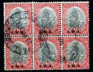 SOUTH WEST AFRICA 1930-31 1d. Black/Carmine Perf 15x14 Bilingual Block SG 69 VFU