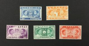 ETHIOPIA, #297-301, 1949, set of 5, FVF, OG, MVLH. CV $41.00.