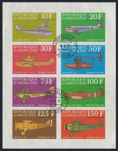 Gabon C103ah-C104ad sheets,CTO. Junkers,Dornier,Fokker,Sikorsky.Aircraft 1970.