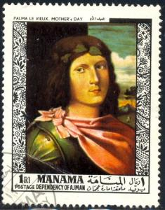 Mother's Day, Painting by Palma Le Vieux, Manama stamp used
