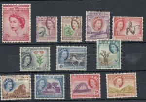 Southern Rhodesia QEII 1953 Set To 2/ 6d SG77/89 MNH/MLH J9635