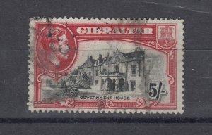 Gibraltar KGVI 1938 5/- Perf 14 SG129 Parcel Cancellation FU Cat £150 J8210