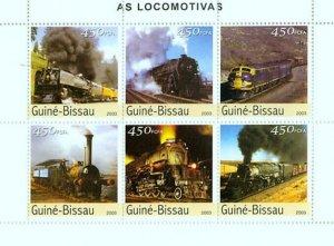 Guinea-Bissau MNH S/S Locomotives 2003 6 Stamps