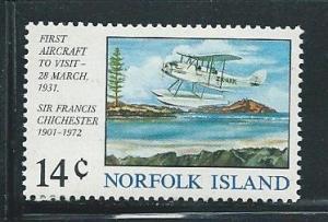 Norfolk Island 174 1974 Gipsy Moth Flight single MNH
